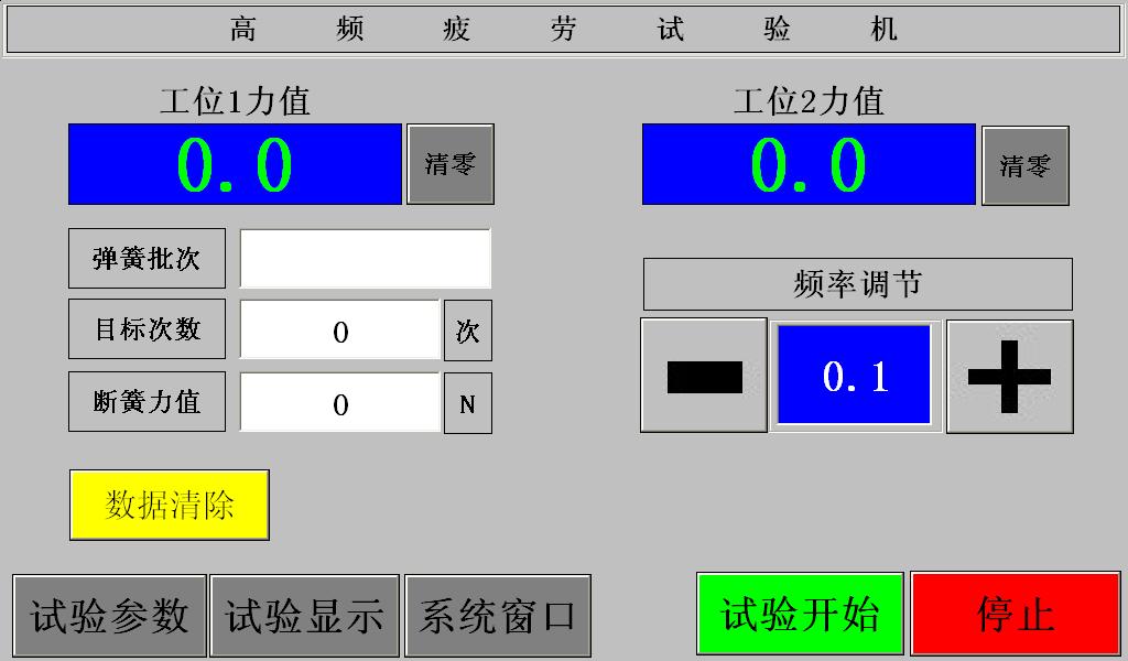 双工位高频疲劳机 数据显示界面